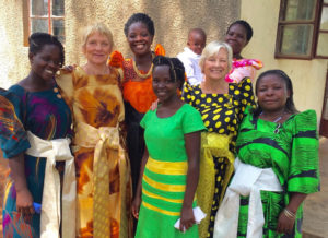 Connie with women in Uganda